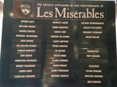 Les Miserables Cast Board