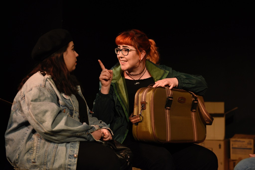 Actresses Emily Pearce and Alice Rush from theatre comapny CB4Theatre in the theatrical production Back to Berlin playing at The Other Room in Cardiff