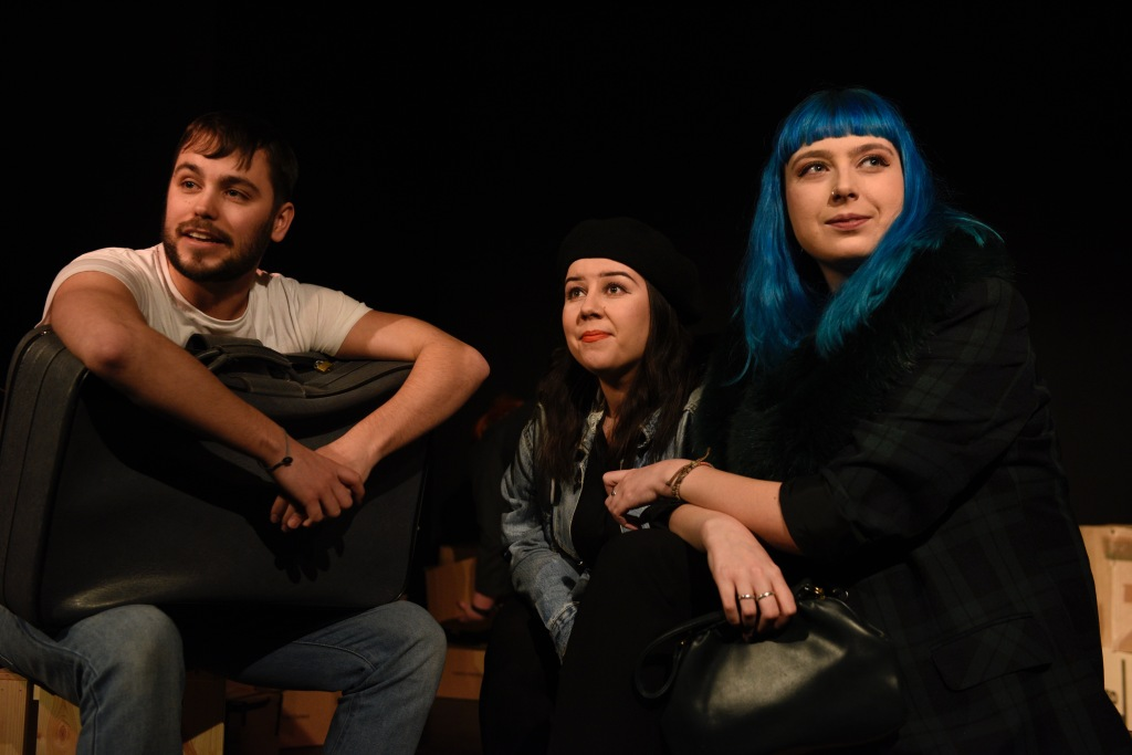 Actors Luke Siedel-Haas, Emily Pearce and Frankie-Rose Taylor from theatre comapny CB4Theatre in the theatrical production Back to Berlin playing at The Other Room in Cardiff